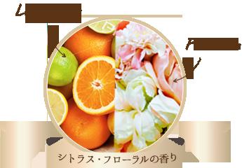 调配清爽柠檬草和优雅玫 瑰草油的柑橘花香