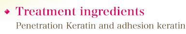 Treatment ingredients Penetration Keratin and adhesion keratin