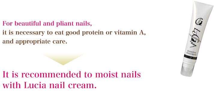 For beautiful and pliant nails, it is necessary to eat good protein or vitamin A, and appropriate care. It is recommended to moist nails with Lucia nail cream.