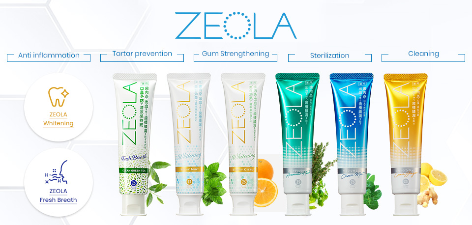 ZEOLA TOOTHPASTE supports your healthy life by helping to protect against gum disease.