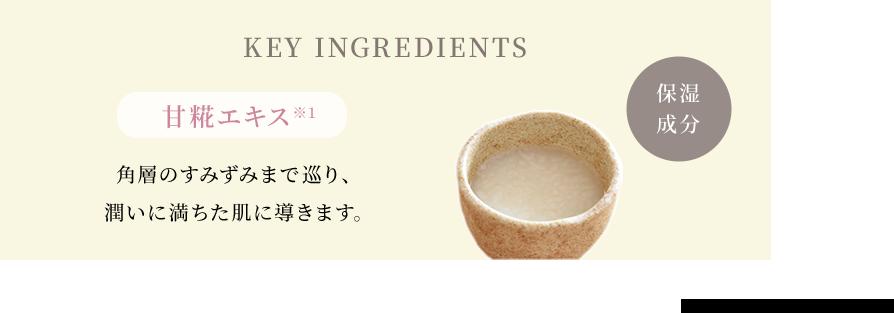 KEY INGREDIENTS 保湿成分 甘糀エキス*1 角層のすみずみまで巡り、潤いに満ちた肌に導きます。*1 アスペルギルス/コメ発酵液