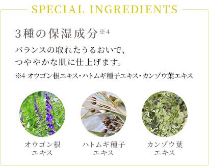SPECIAL INGREDIENTS 3種の保湿成分 バランスの取れたうるおいで、つややかな肌に仕上げます。*オウゴン根エキス、ハトムギ種子エキス、カンゾウ葉エキス