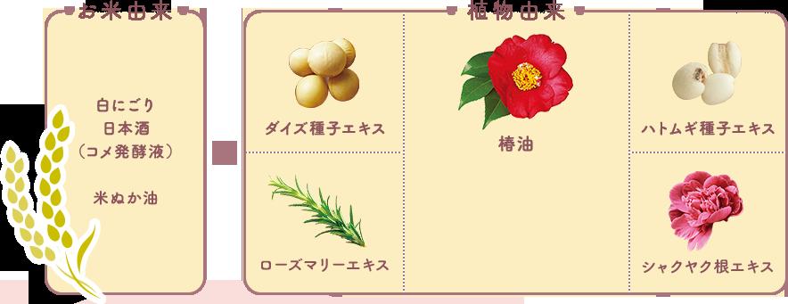 「お米由来 白にごり日本酒(コメ発酵液)、米ぬか油」 × 「植物由来 ダイズ種子エキス、ハトムギ種子エキス、ローズマリーエキス、シャクヤク根エキス、椿油」